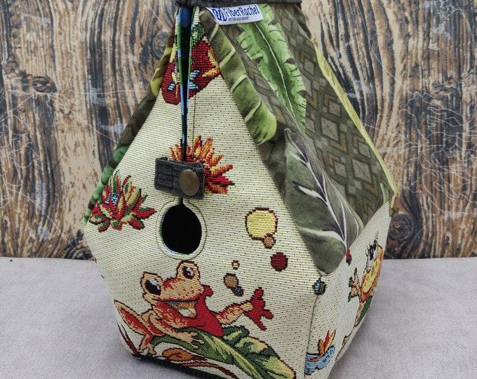 Frog themed knitting bag, Sockhouse size, Birdhouse shaped project bag for knitting or crochet