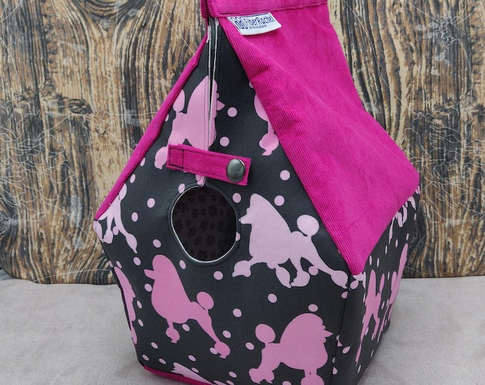 Poodle themed Birdhouse Project bag for knitters or crocheters, fully lined, Birdhouse shaped knitting bag