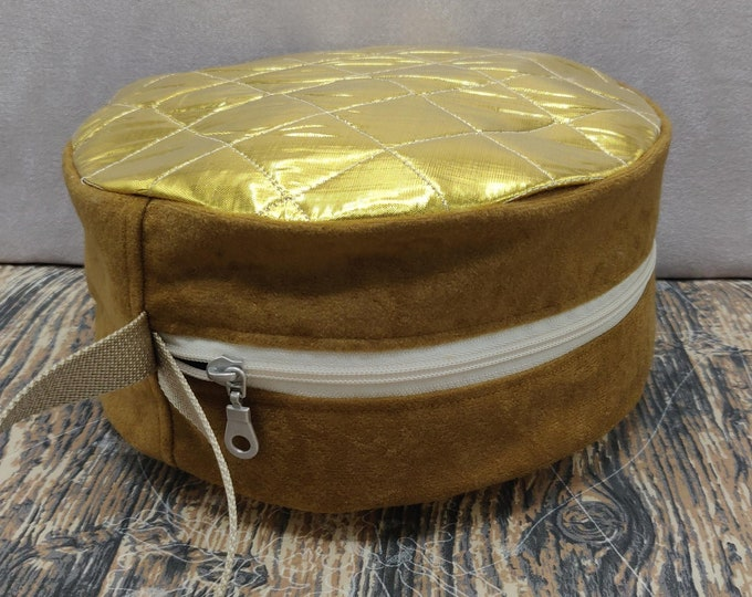 Golden Stroopwaffel Knitdisc, a Project Bag for knitting, crochet, or whatever you like