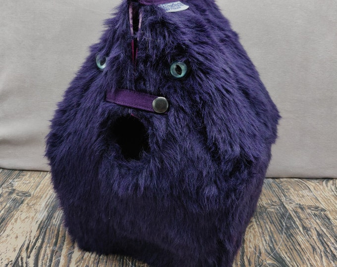 Cuddly Monster Birdhouse Project bag with cat eyes for knitters or crocheters, fully lined, Birdhouse shaped knitting bag