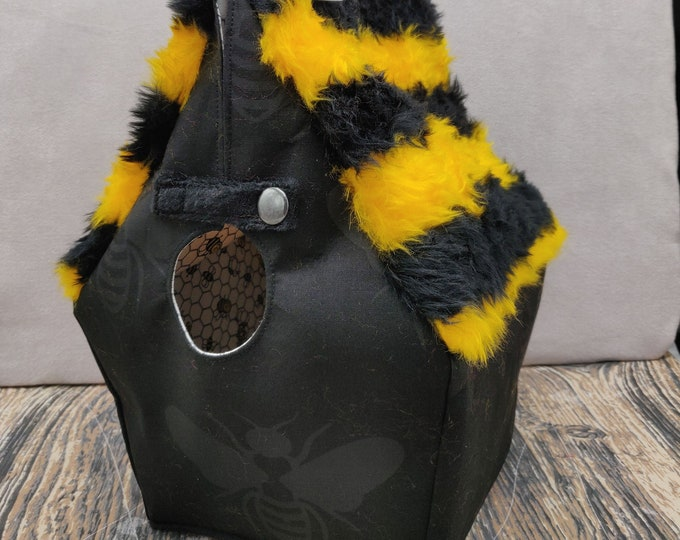 Bumblebee Bee Birdhouse Project bag for knitters or crocheters, fully lined, Birdhouse shaped knitting bag