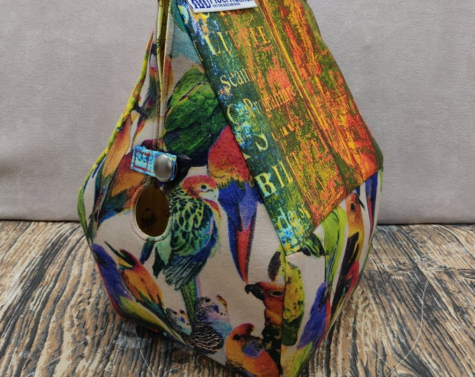 Bird themed Birdhouse bag, Sockhouse size, Birdhouse shaped project bag for knitting or crochet