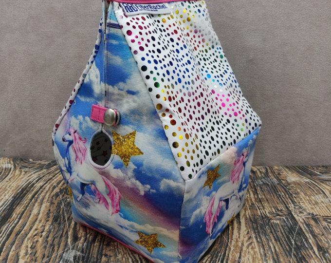 Unicorn knitting bag, Sockhouse size, Birdhouse shaped project bag for knitting or crochet
