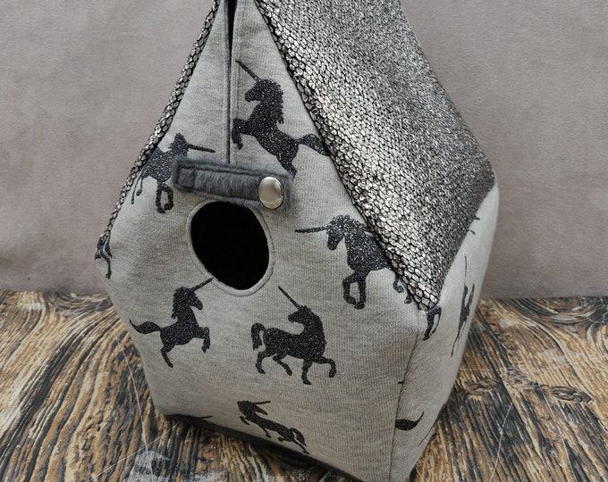Unicorn Birdhouse Project bag for knitters or crocheters, fully lined, Birdhouse shaped knitting bag