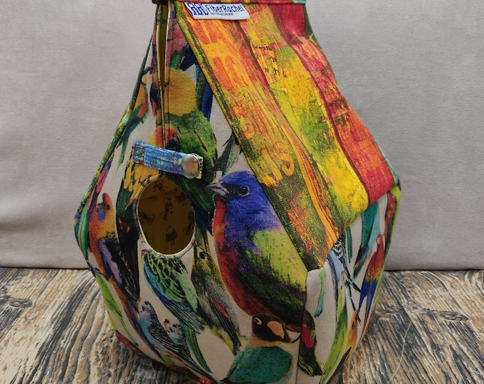 Bird themed Birdhouse Project bag for knitters or crocheters, fully lined, Birdhouse shaped knitting bag