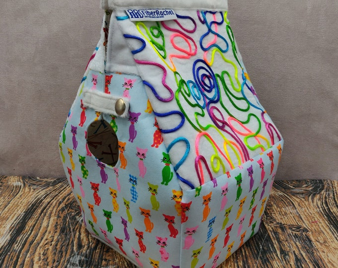 Cat themed Birdhouse Project bag for knitters or crocheters, fully lined, Birdhouse shaped knitting bag