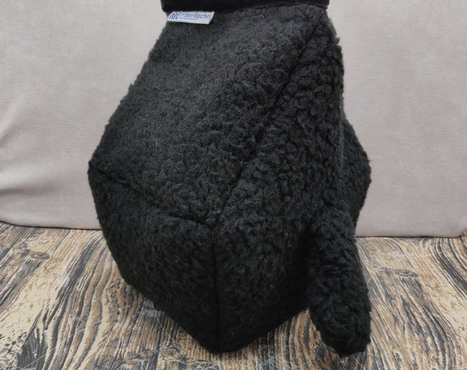 Cuddly Sheep Birdhouse Project bag with a cute tail, for knitters or crocheters, fully lined, Birdhouse shaped knitting bag