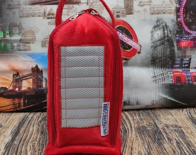 British Phone Box, Knitbox project bag, for knitting and crochet projects up to 3 skeins, suitable as wrist bag/ yarn bowl