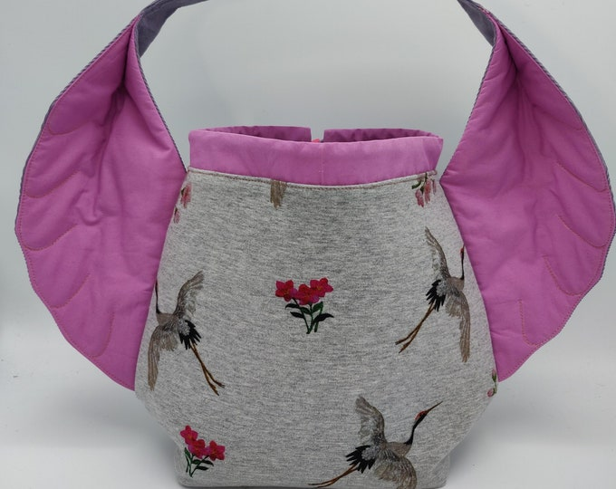 Bird Wing knitting project bag, variation on the earsbag, drawstring bag for knitting, crochet or anything you like