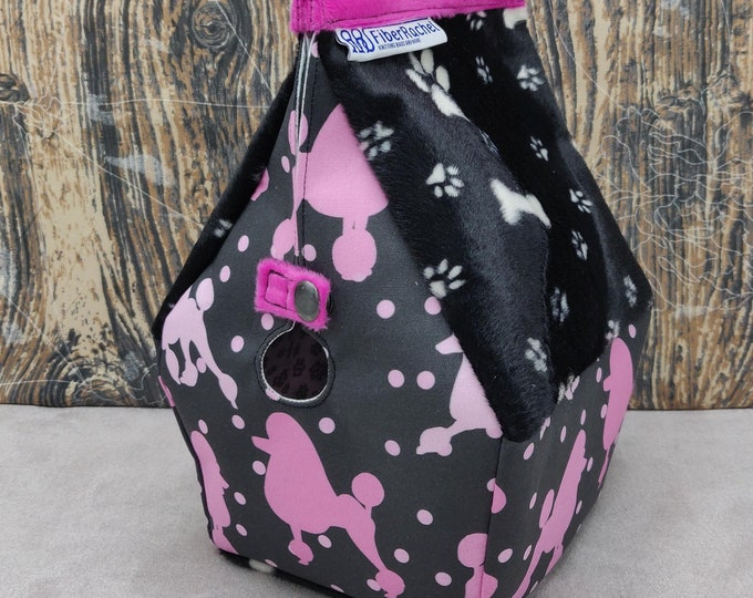 Poodle themed knitting bag, Sockhouse size, Birdhouse shaped project bag for knitting or crochet