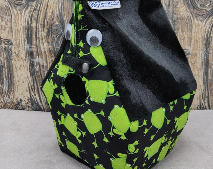 Googly Eyed Frog themed Birdhouse Project bag for knitters or crocheters, fully lined, Birdhouse shaped knitting bag