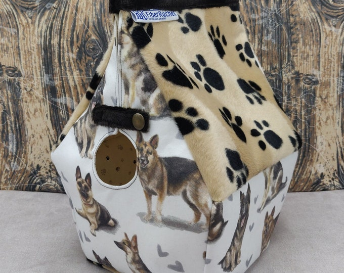 German Shepherd themed Birdhouse Project bag for knitters or crocheters, fully lined, Birdhouse shaped knitting bag