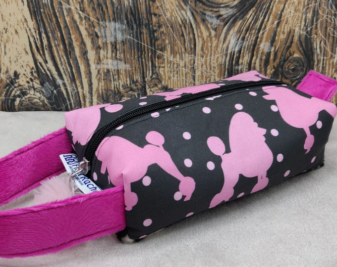Poodle print Tool case, pouch, box bag, knitbox, for your knitting gadgets and tools or very small projects