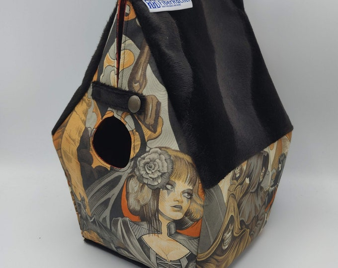 Gothic/Halloween Birdhouse, Birdhouse shaped project bag for knitting or crochet