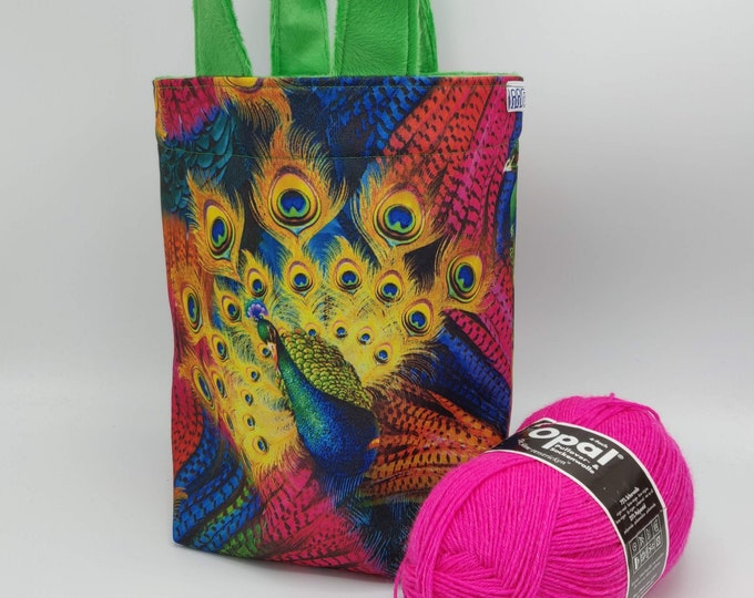 Rainbow Peacock Project bag Knitting Bucket for knitters or crocheters, fully lined with a drawstring and handles