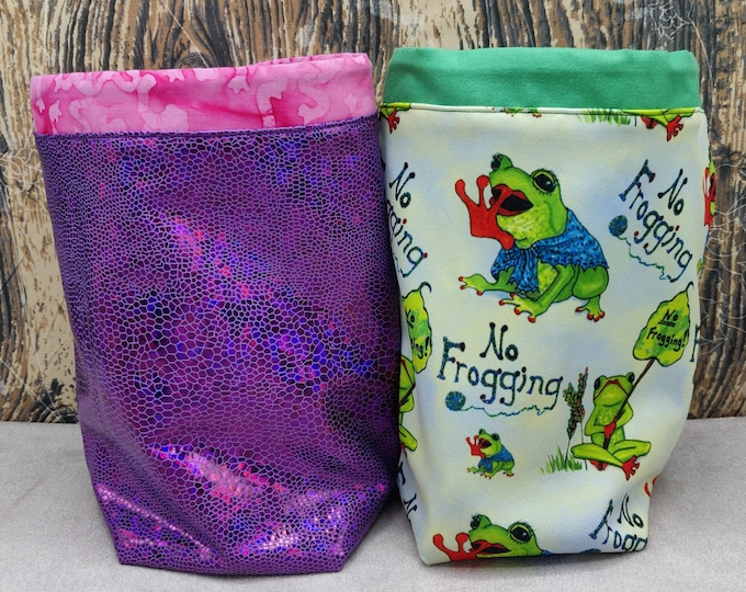 Frog themed Twofer reversible Project bag , reversible pouch for knitters or crocheters, fully lined with a drawstring.