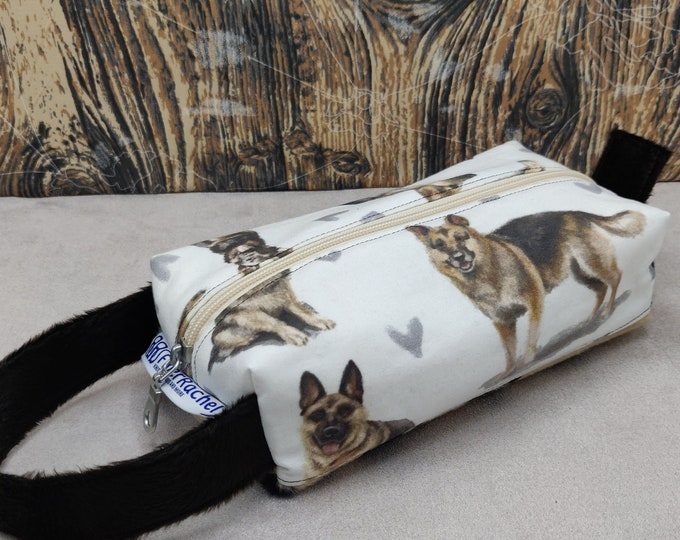 German Shepherd print Tool case, pouch, box bag, knitbox, for your knitting gadgets and tools or very small projects