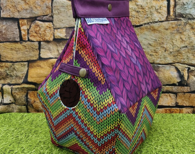 Birdhouse Project bag with a knitting print, for knitters or crocheters, fully lined, Birdhouse shaped knitting bag, semi waterproof
