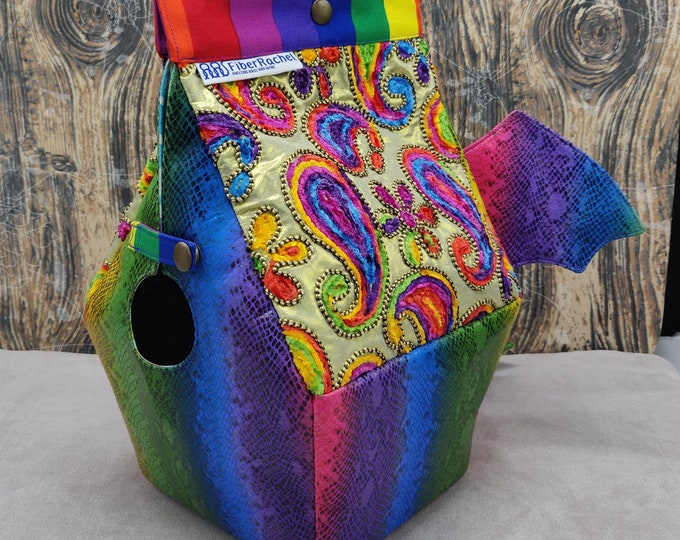 Rainbow Paisley Dragon Birdhouse Bag, Birdhouse shaped project bag for knitting or crochet, or whatever you like