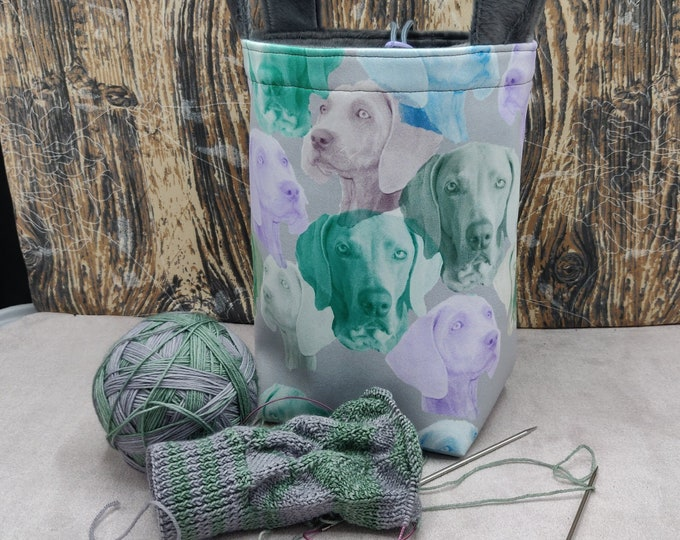 Weimaraner print Sock Knitting Bucket, project bag for 1-4 skeins of yarn, lined with a drawstring closure and handles