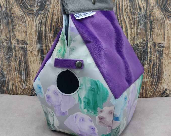 Weimaraner themed Birdhouse Project bag for knitters or crocheters, fully lined, Birdhouse shaped knitting bag