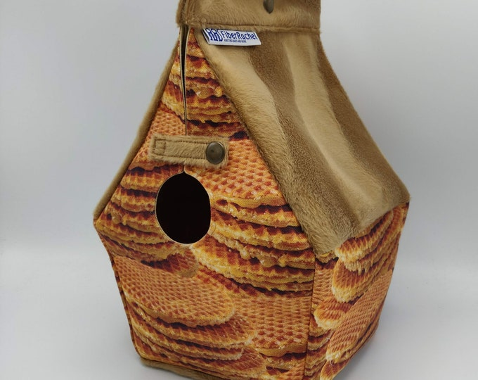 Stroopwafel Birdhouse Project bag 'Gouda Collection' for knitters or crocheters, fully lined, Birdhouse shaped knitting bag