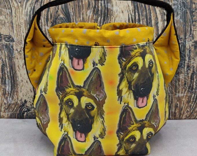 German Shepherd Ears Project bag  for knitters, closes with a drawstring and is fully lined