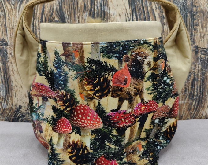 Squirrel Earsbag with a bushy tail, projectbag, drawstring bag for knitting, crochet or anything you like
