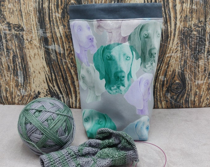 Weimaraner print themed Project bag Twofer, reversible pouch for knitters or crocheters, fully lined with a drawstring.