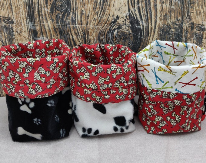 Dalmatian themed Project bag Twofer, reversible pouch for knitters or crocheters, fully lined with a drawstring.