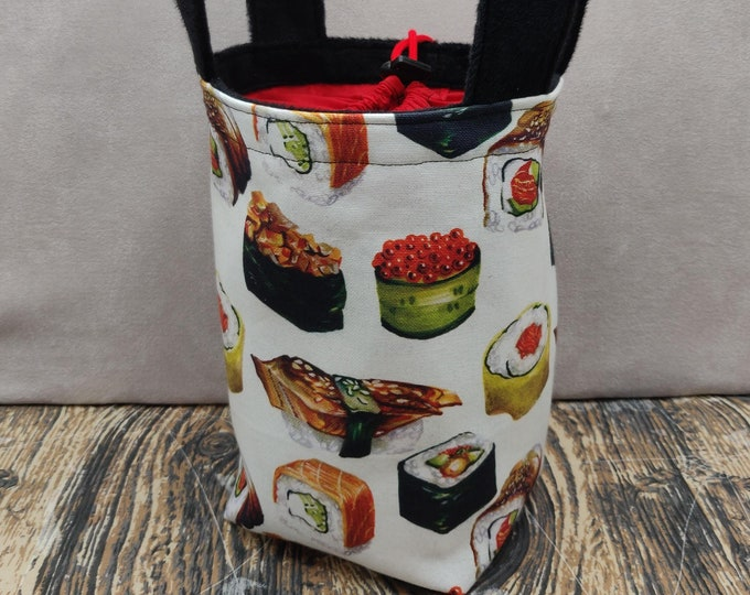 Fast food Sushi Sock Knitting Bucket, project bag for 1-4 skeins of yarn, lined with a drawstring closure and handles
