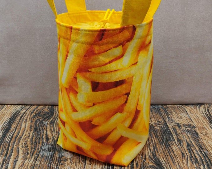 Fast food Fries/chips Sock Knitting Bucket, project bag for 1-4 skeins of yarn, lined with a drawstring closure and handles