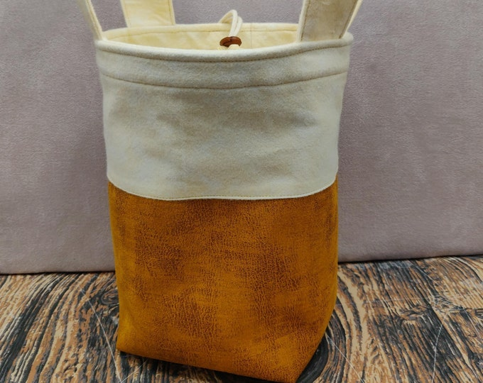 Fast food Beer Sock Knitting Bucket, project bag for 1-4 skeins of yarn, lined with a drawstring closure and handles