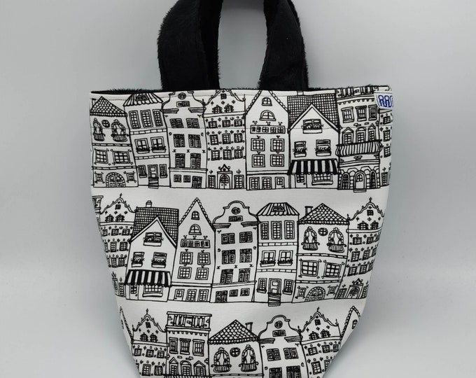 Project bag Knitting Bucket 'Gouda Collection' for knitters or crocheters, fully lined with a drawstring and handles