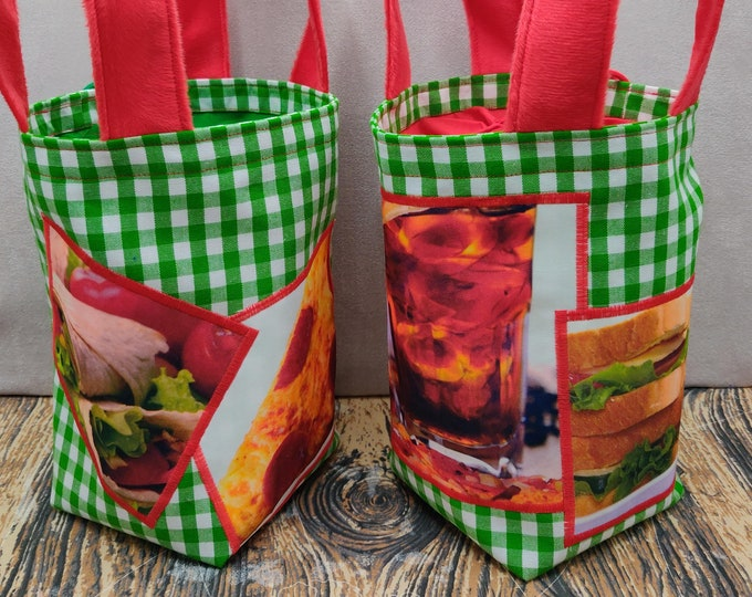 Fast food Sock Knitting Bucket, project bag for 1-4 skeins of yarn, lined with a drawstring closure and handles