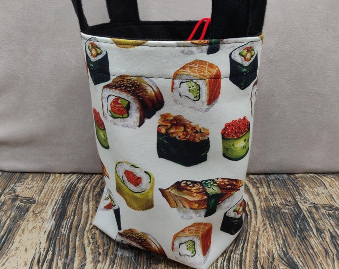 Project bag Sushi Knitting Bucket for knitters or crocheters, fully lined with a drawstring and handles