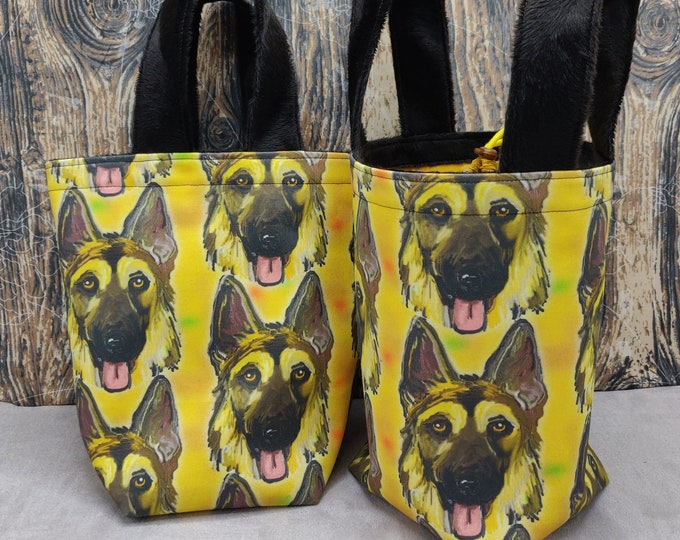 German Shepherd Sock Knitting Bucket, project bag for 1-4 skeins of yarn, lined with a drawstring closure and handles