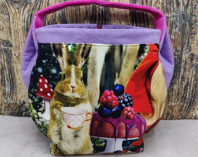 Fantasy wood animal tea party Ears bag, project bag, knitting bag, crochet bag, lined with drawstring closure