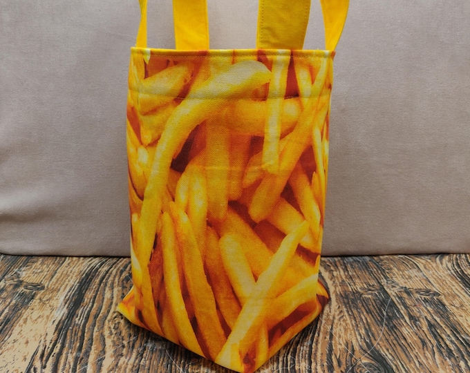 Project bag Fries/Chips Knitting Bucket for knitters or crocheters, fully lined with a drawstring and handles