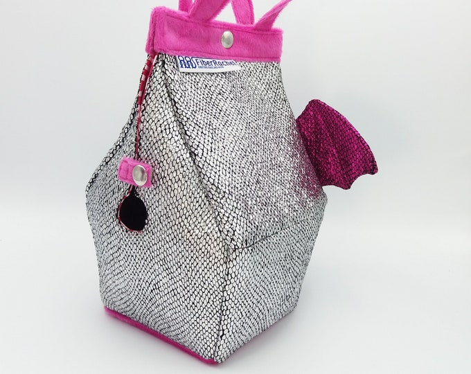 Dragon Sockhouse Bag, Birdhouse shaped project bag for knitting or crochet, or whatever you like