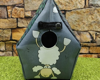 Birdhouse Project bag with sheep and knitting print, for knitters or crocheters, fully lined, Birdhouse shaped knitting bag, semi waterproof