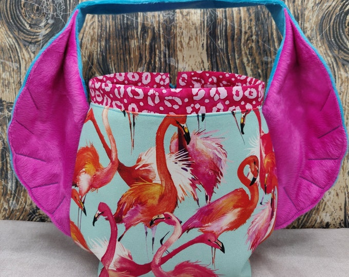Flamingo Bird Wing knitting project bag, variation on the earsbag, drawstring bag for knitting, crochet or anything you like