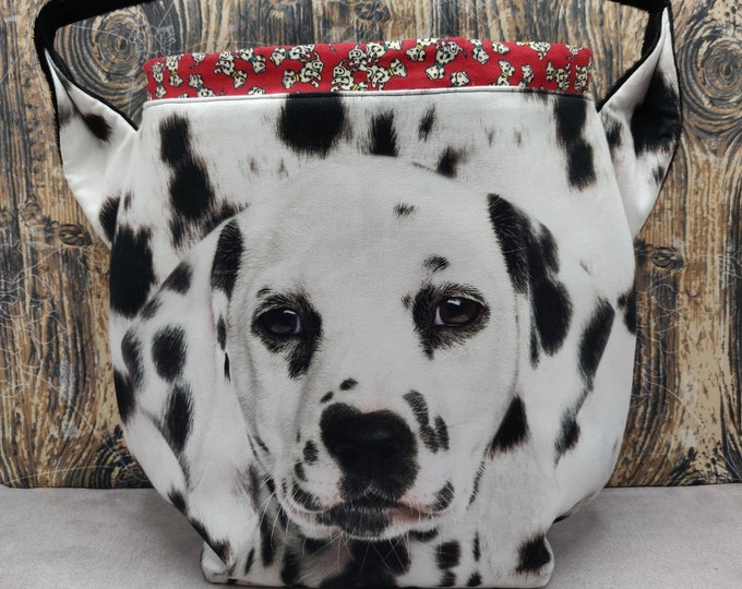 Dalmatian XL Ears bag, large drawstring bag for knitting, crochet or anything you like, sweater size with shoulderstrap