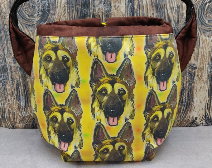 German Shepherd XL Ears bag, large drawstring bag for knitting, crochet or anything you like, sweater size with shoulderstrap