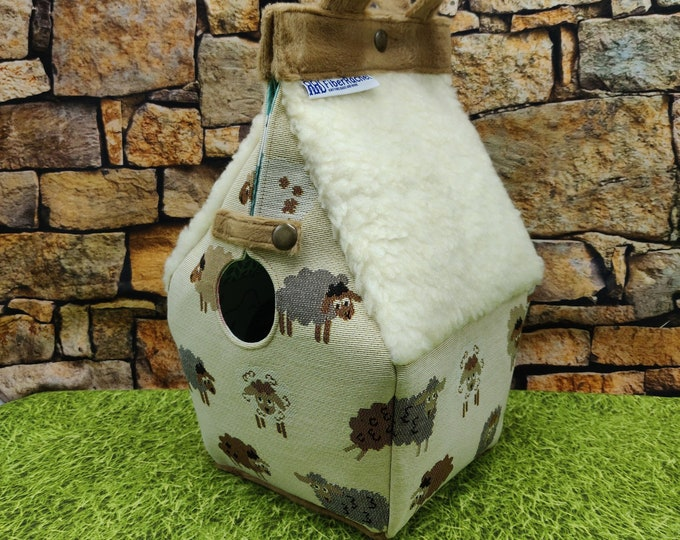 Birdhouse Project bag with sheep/ knitting fabrics, for knitters or crocheters, fully lined, Birdhouse shaped knitting bag