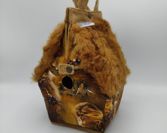 Chewy space monster cuddly furry project bag, Sockhouse size, Birdhouse shaped project bag for knitting or crochet