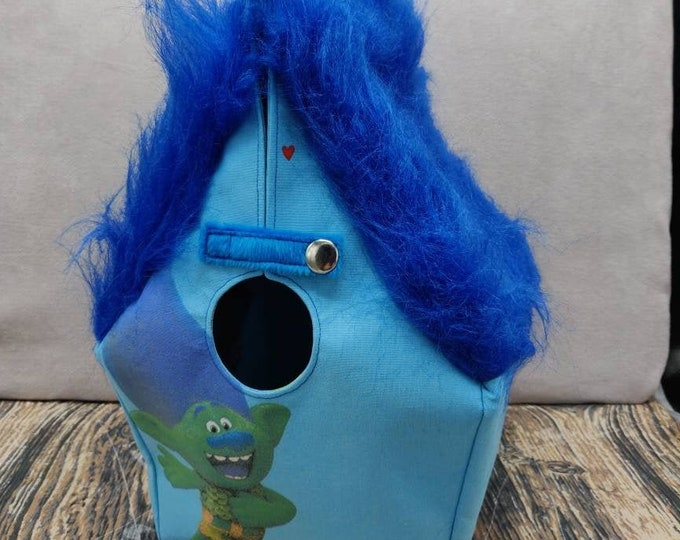 Crazy Furry Trolls Birdhouse Project bag for knitters or crocheters, fully lined, Birdhouse shaped knitting bag