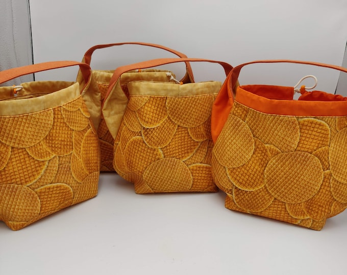 Stroopwafel Ears bag, Sock Madness edition, knitting bag, project bag, drawstring bag for knitting, crochet or anything you like