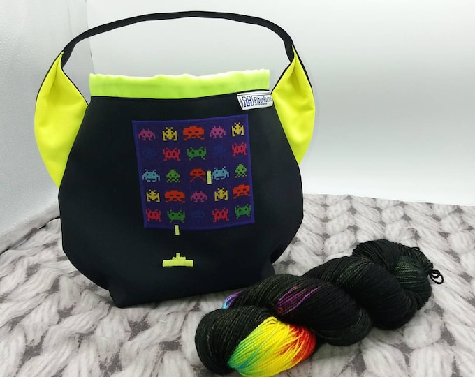 Space Invaders Ears bag, back to the 80's with black and neon, drawstring bag for knitting, crochet or anything you like
