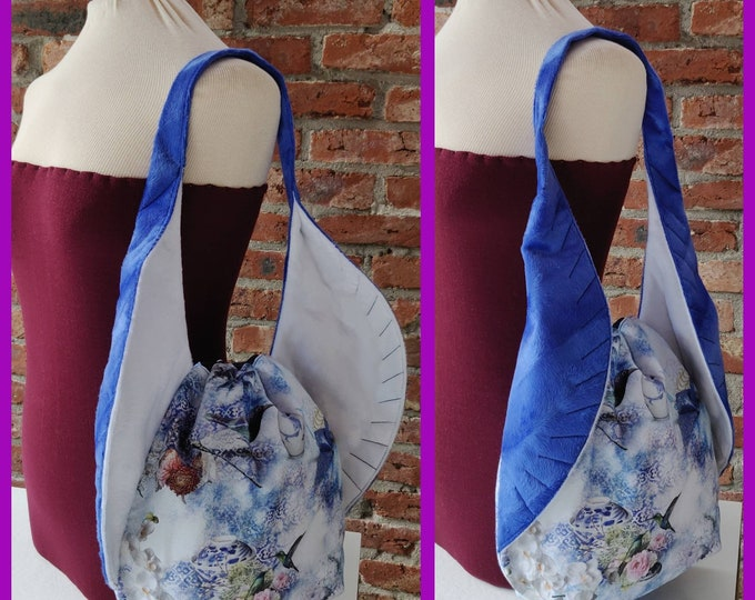 Bird Wing knitting project Bag XL, variation on the earsbag, drawstring bag for knitting, crochet or anything you like